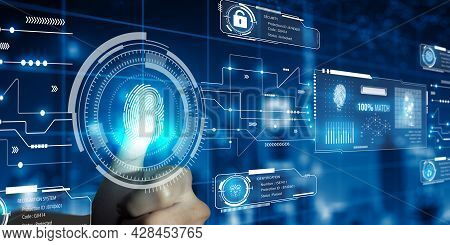 Businessman Using Fingerprint Technology Scan Provides Security Access. Advanced Technological Verif