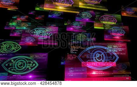 Cyber Eye And Big Brother Symbol On Computer Screens. Cyber Threat, Artificial Intelligence, Digital