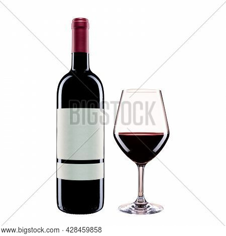 Bottle And Goblet Of Red Wine On A White Background
