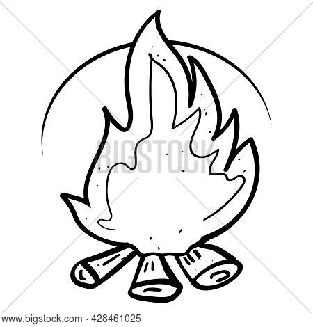 Campfire With Firewood Coloring Page Or Book