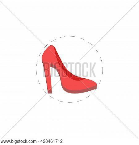 Woman Heel Clipart. Woman Heel Piece Simple Vector Clipart. Woman Heel Piece Isolated Clipart.