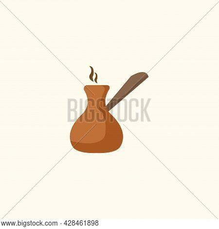 Turkish Coffee Clipart. Turkish Coffee Simple Vector Clipart. Turkish Coffee Isolated Clipart.