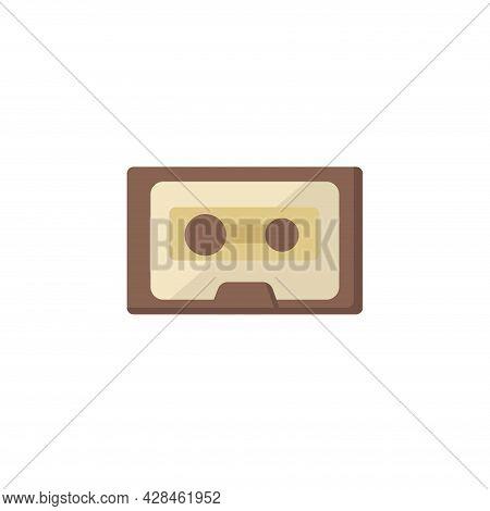 Old Music Cassette Clipart. Audio Tape Simple Vector Clipart. Music Cassette Isolated Clipart.