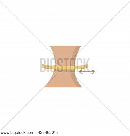 Slimming Belly With Measuring Tape Clipart. Slimming Belly Simple Vector Clipart. Slimming Belly Iso