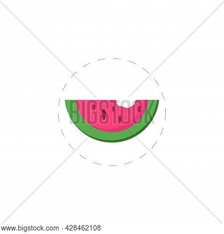 Watermelon Slice Clipart. Watermelon Slice Simple Vector Clipart. Watermelon Slice Isolated Clipart.