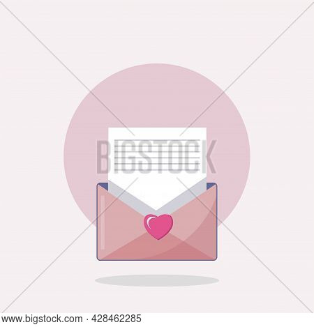 Love Envelope Clipart. Love Message Simple Vector Clipart. Letter Isolated Clipart.