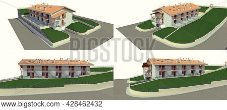 The Condo For A Small Town Or Rural Area. A Small Motel, A Hotel With A Garage For Guests. Exterior