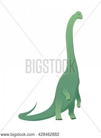 Brachiosaurus dinosaur flat icon. Colored isolated prehistoric reptile monster on white background. Herbivorous  cartoon dino animal