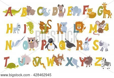 Animal alphabet  set with english letters from A to Z, isolated on white background. Funny hand drawn style characters. Learn kids to read with different cute toys collection in