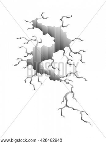 Crack after earthquake. Hole in ground and destruction crack. Aging or dried ground effects, land destruction. Cracked ground isolated on a white background