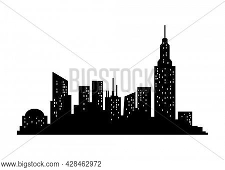 Cityscape silhouette. City building, night town and horizontal urban panorama silhouette. Modern urban landscape. Monochrome panoramic view