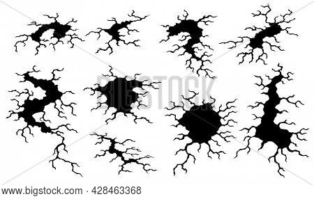 Collection of cracks after earthquake. Holes in ground and destruction cracks. Aging or dried ground effects, land destruction. Cracked ground isolated on a white background