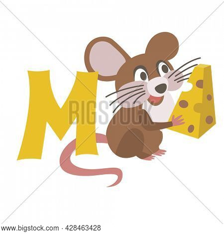 Mouse animal alphabet symbol. English letter M isolated on white background. Funny hand drawn style character. Learn kids to read with cute toy illustration