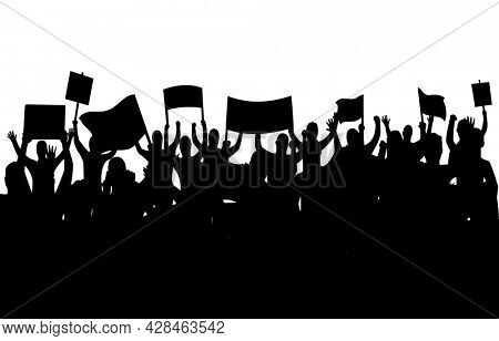 Peaceful protest and revolution. Silhouette of riot protesting crowd demonstrators with banners and flags. People on the meeting, crowd with banners.  illustration of conflict