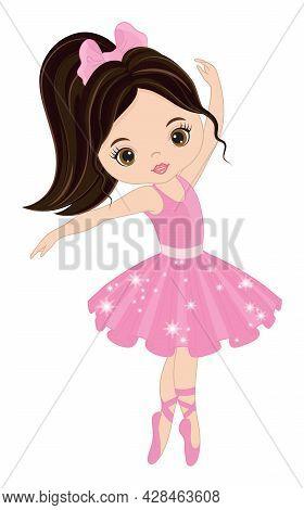 Vector Beautiful Ballerina Dancing. Ballerina Is Dark-haired With Ponytail Wearing Pink Tutu Dress.
