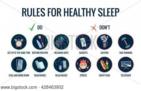Infographics of healthy sleep tips. Useful advices for better sleep. Recommendation for night rest. Bedtime routine for good sleep