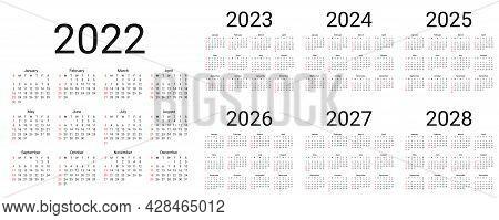 Calendar 2022, 2023, 2024, 2025, 2026, 2027, 2028 Years. Vector. Week Starts Sunday. Simple Calender