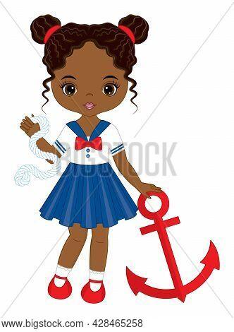 Vector Teen African American Girl With Two Buns, Wearing Nautical Dress. Beautiful Black Girl Holdin