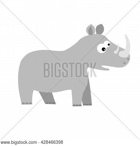 Rhino In 2d Cartoon Style. Flat Isolated Vector