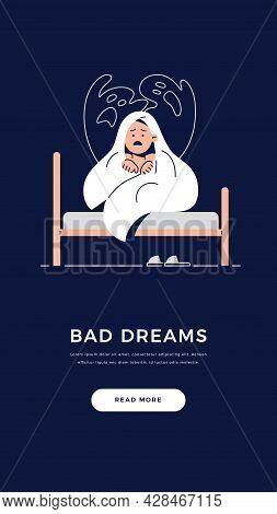 Kids Nightmare Banner. Scared Boy Hides Under Blanket From Ghost, Child Is Frightened Of Monster Fro