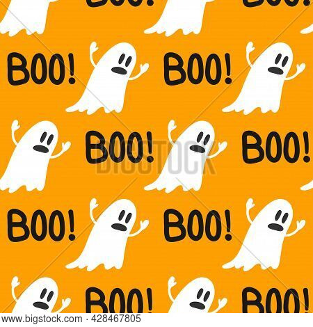 Cute Ghosts Halloween Seamless Pattern. Boo. Background With Simple Spooky Character Or Scary Ghostl