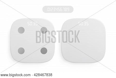 Realistic Modern White Weight Scales With Digital Display. Vector Illustration.