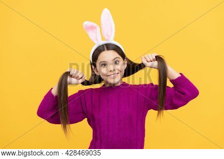 In Playful Mood. Easter Bunny Hunt. Just Having Fun. Ready For Party. Happy Childhood.