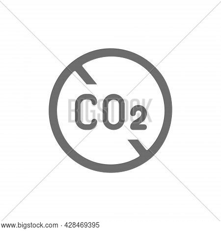 No Carbon Emissions, Co2 Emissions Sign Gray Icon.