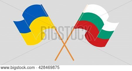 Crossed And Waving Flags Of The Ukraine And Bulgaria