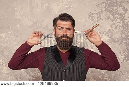 Proper Service. Barber Salon. Man Bearded Hipster With Long Beard And Mustache. Hairstyle Is Kind Of