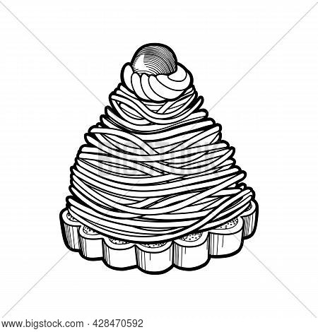 French Dessert Mont Blanc. Traditional Pastries With Merengue And Chestnut Paste . Vector Outline Il