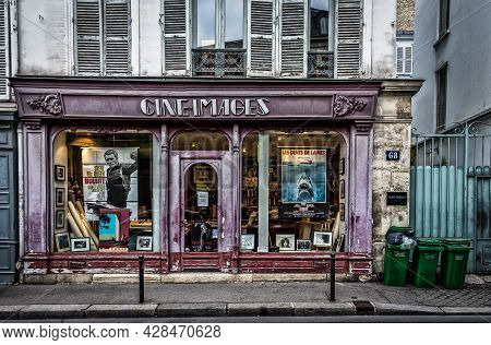"""Paris, France, Fev 2020, view of """"Cine Images"""" shop window a film posters store in the 7th district of the capital"""