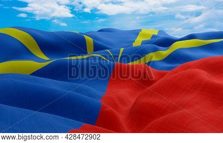 Reunion Flag In The Wind. Realistic And Wavy Fabric Flag. 3d Rendering.