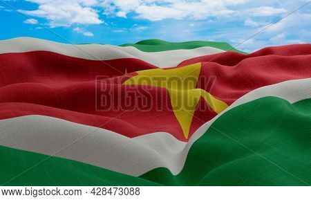 Suriname Flag In The Wind. Realistic And Wavy Fabric Flag. 3d Rendering.