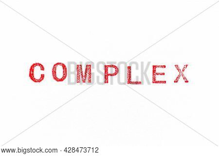 Red Color Rubber Stamp In Word Complex On White Paper Background