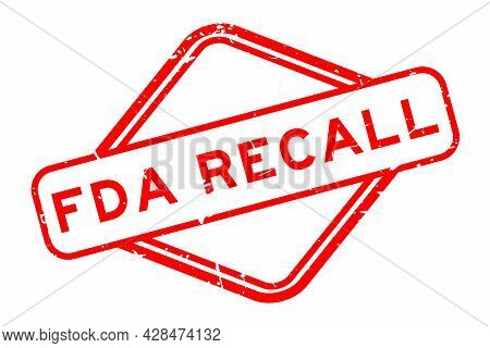 Grunge Red Fda Recall Word Rubber Square Seal Stamp On White Background