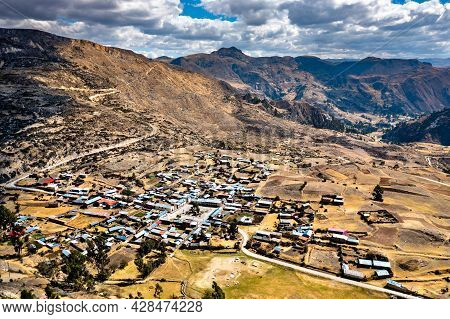 Aerial View Of Antacocha Village In The Peruvian Andes