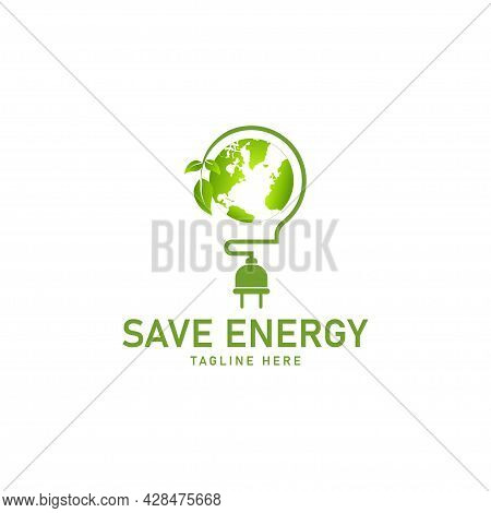 Energy Conservation Concept Vector, Ecology Logo Template,  Vector Illustration.
