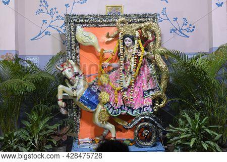 Beautifully Decorated Pandal, At Night, To Worship Goddess Saraswati. Hindu Goddess Of Knowledge, Mu