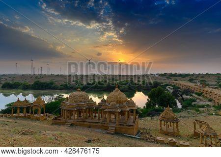 Beautiful Sunset At Bada Bagh Or Barabagh, Means Big Garden,is A Garden Complex In Jaisalmer, Rajast