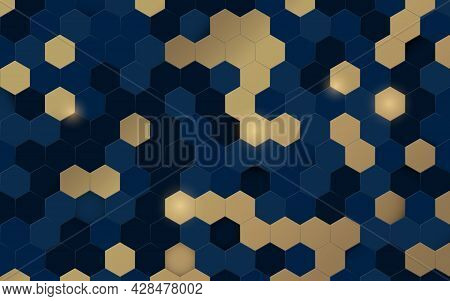 Abstract Blue And Gold Hexagon 3d Texture Background With Technology And Luxury Concept. Vector Illu
