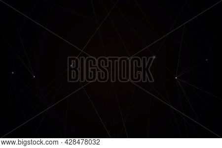 Abstract Gold Chaotic Lines Connection On Black Background. Luxury Concept. Vector Illustration