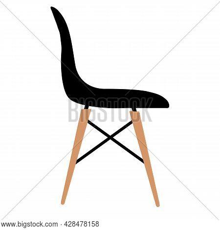 Kitchen Chair On White Background. Plastic Kitchen Dining Chair. Armchair Sign. Restaurant Chair Log