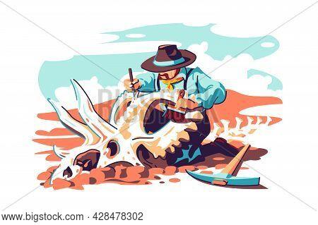 Paleontologist Scientist Work On Excavations Vector Illustration. Study Dinosaur Fossil Skeleton Bon