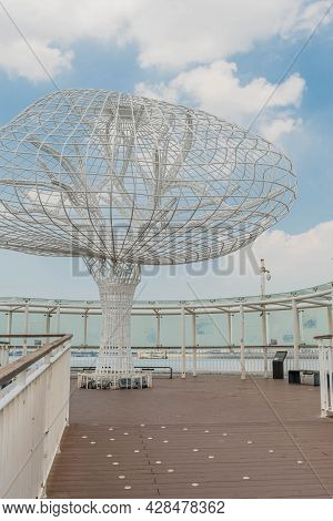 Tree Made Of Molded Steel Rods At Oido Port.