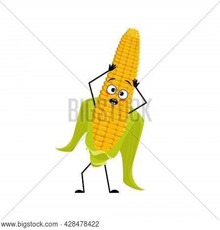 Cute Corn Cob Character With Emotions In A Panic Grabs His Head, Surprised Face, Shocked Eyes, Arms