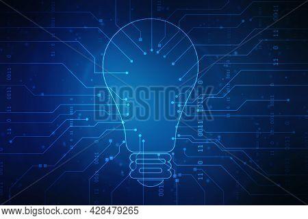 Bulb Future Technology,innovation Background,creative Idea Concept,artificial Intelligence Backgroun