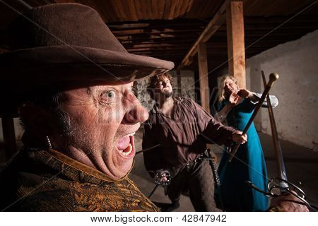 Angry Swordsman Attacking