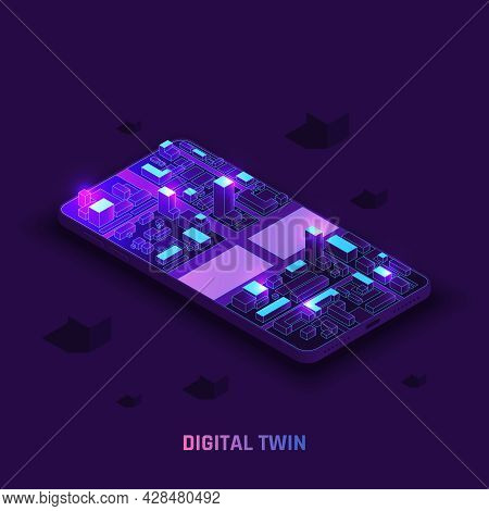 Digital Twin Technology Smart City Infrastructure Isometric 3d Simulation On Smartphone Screen Glowi