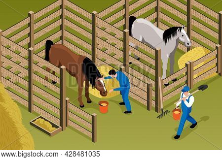 Horse Stable Isometric Background With Horses In Stall And Workers In Uniform Caring And Nursing For
